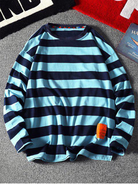 條紋圖案設計信套頭衫 - 藍色 2XL Mobile