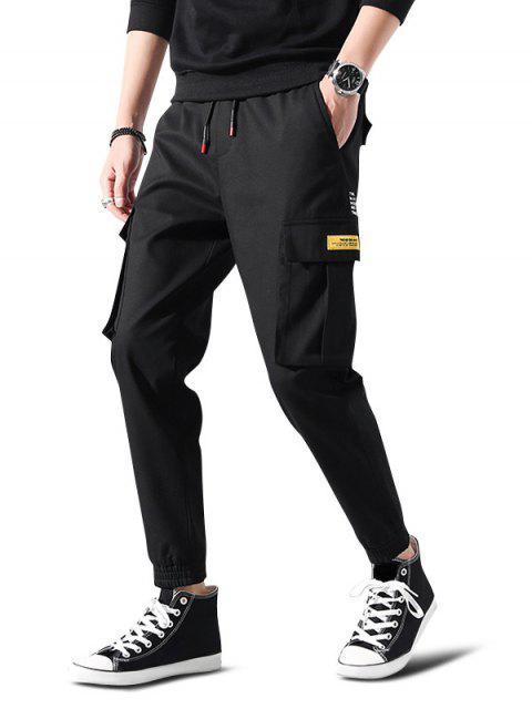 trendy Letter Print Applique Drawstring Cargo Jogger Pants - BLACK XS Mobile
