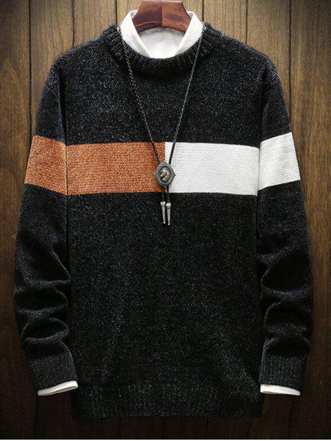 色彩拼接圓領毛衣 - 黑色 L Mobile