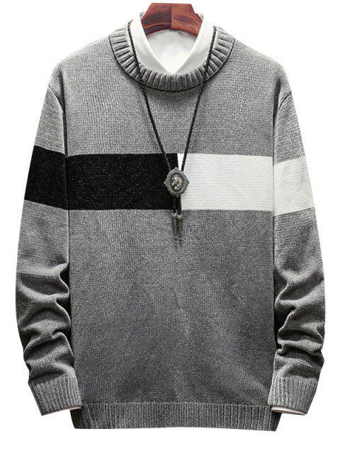 色彩拼接圓領毛衣 - 灰色 2XL Mobile