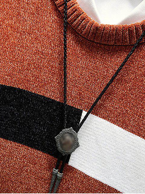色彩拼接圓領毛衣 - 咖啡 2XL Mobile