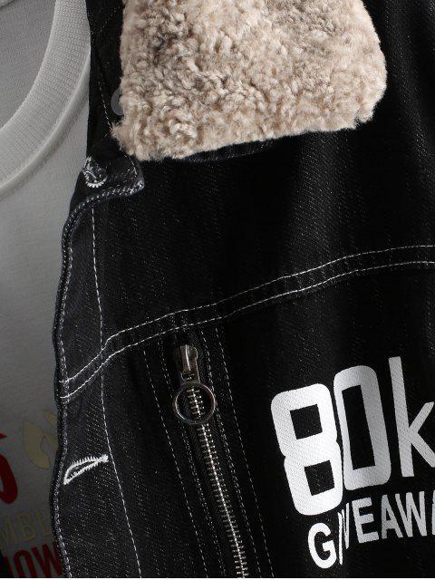 酷男人本色信打印刮羊毛牛仔夾克 - 黑色 L Mobile