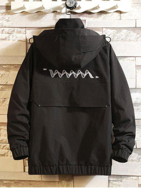 sale Embroidery Waves Letter Raglan Sleeve Hooded Jacket - BLACK XS Mobile