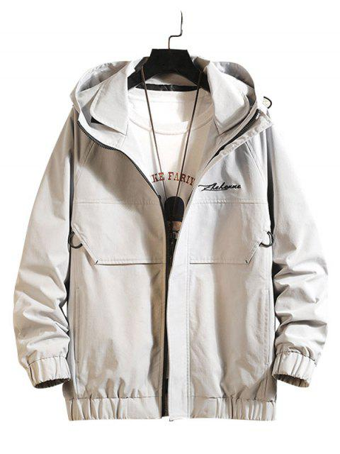 best Embroidery Waves Letter Raglan Sleeve Hooded Jacket - LIGHT GRAY M Mobile