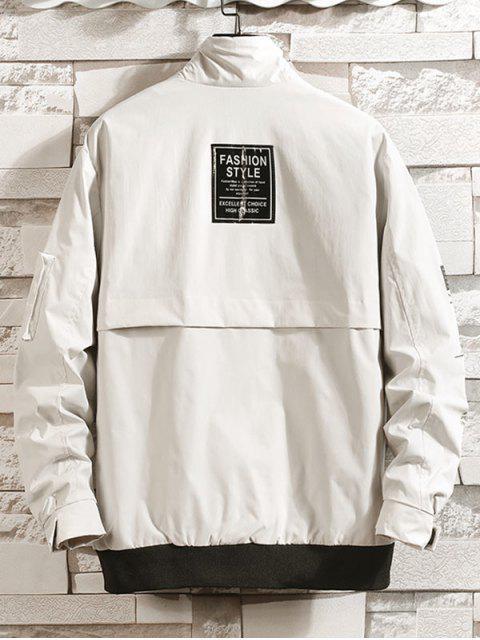 Lässige Cargo Jacke mit Buchstabe Grafik Druck und Taschen - Beige M Mobile