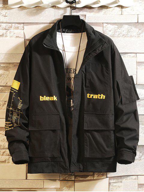 信圖形打印口袋拼布休閒夾克貨物 - 黑色 XS Mobile