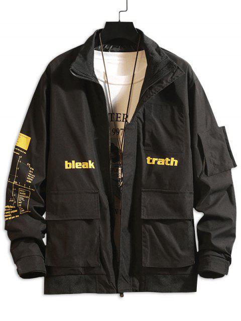 信圖形打印口袋拼布休閒夾克貨物 - 黑色 S Mobile