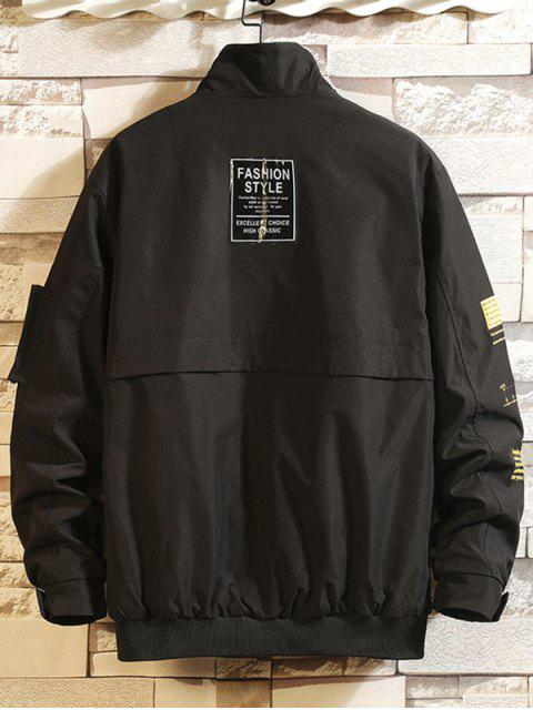 信圖形打印口袋拼布休閒夾克貨物 - 黑色 M Mobile