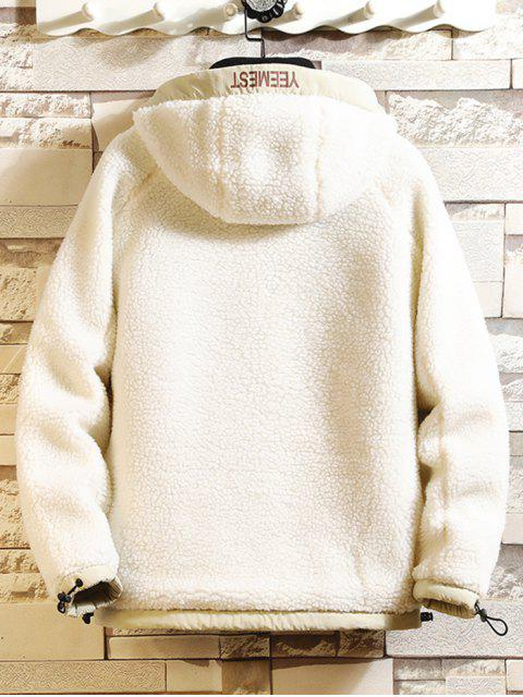 相比之下字母打印連帽人造毛皮外套泰迪 - 白色 M Mobile