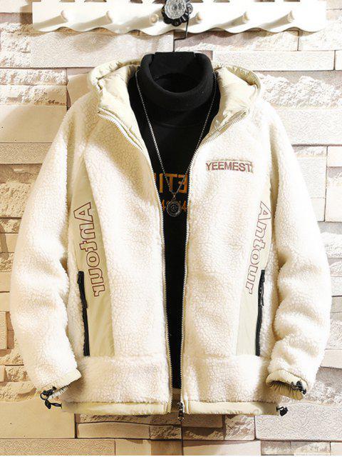Contraste de impresión de letras chaqueta con capucha de piel falsa de peluche - Blanco L Mobile