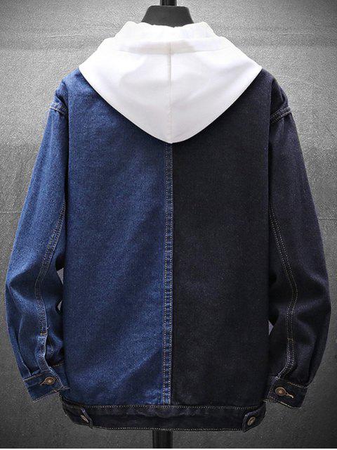 色塊按鈕向上牛仔夾克 - 深藍 L Mobile