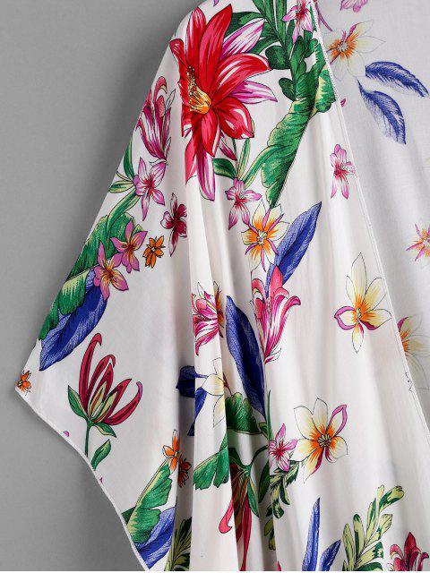 womens ZAFUL Flower Print Open Tassel Tunic Cover Up - MULTI-A M Mobile