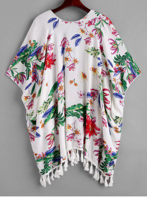 lady ZAFUL Flower Print Open Tassel Tunic Cover Up - MULTI-A L Mobile