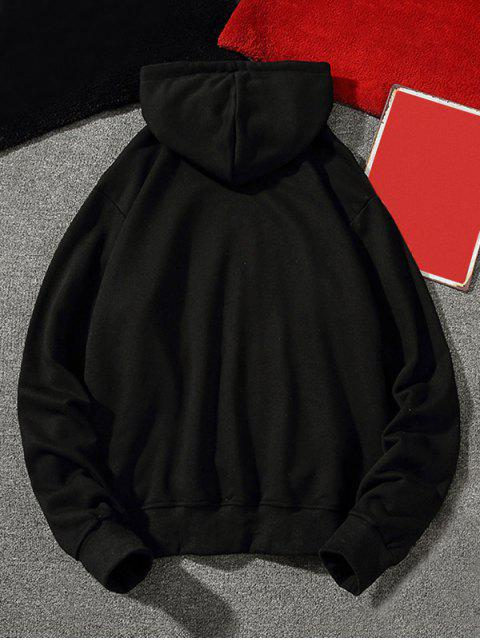 信打印休閒囊袋狀抽繩連帽外套 - 黑色 M Mobile