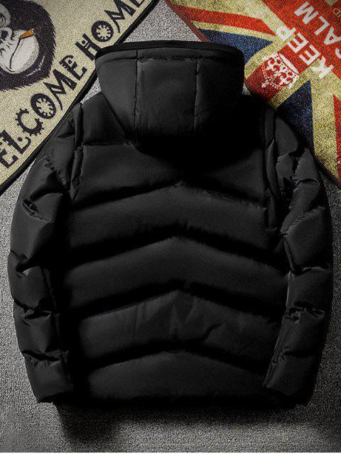 Einfarbige Reißverschluss Oben Kapuzen Puffer Jacke - Schwarz XL Mobile