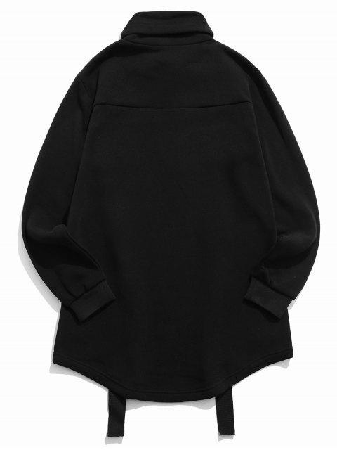 高領羊毛抽繩哥特式運動衫 - 黑色 2XL Mobile