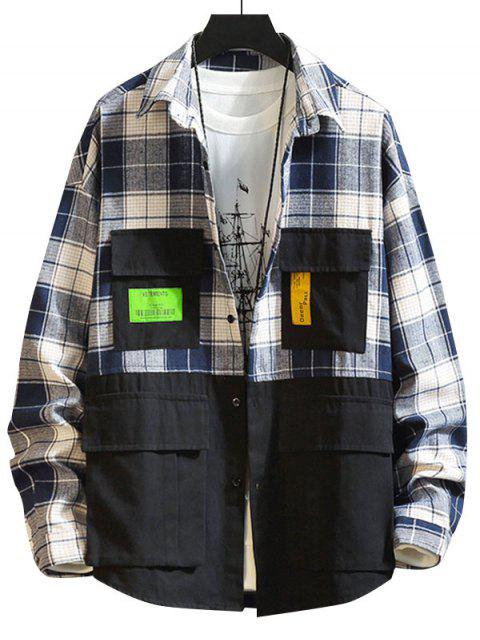 Colorblock拼接格紋貼花衫鈕 - 黑色 4XL Mobile