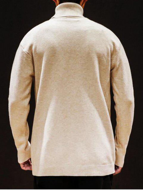 固體樽領毛衣休閒毛衣 - 杏 M Mobile