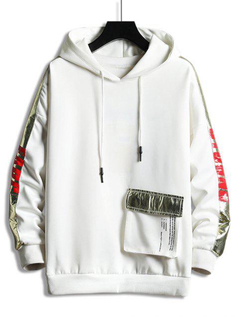 金屬字母對比色飾邊口袋掉落肩連帽衫 - 白色 2XL Mobile