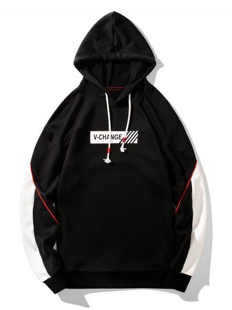 v更改圖形管道式抽繩連帽外套 - 黑色 2XL Mobile
