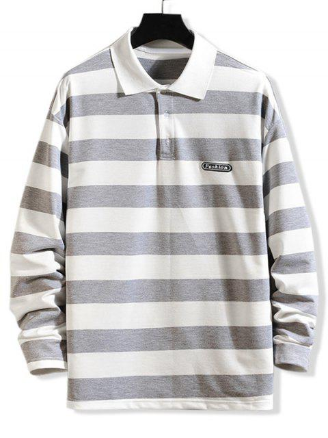 Gestreiftes Muster Lange Ärmel T-Shirt - Graue Wolke M Mobile