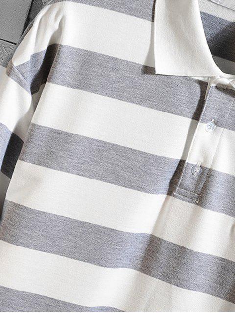 Gestreiftes Muster -Lange Ärmel- T-Shirt - Graue Wolke S Mobile