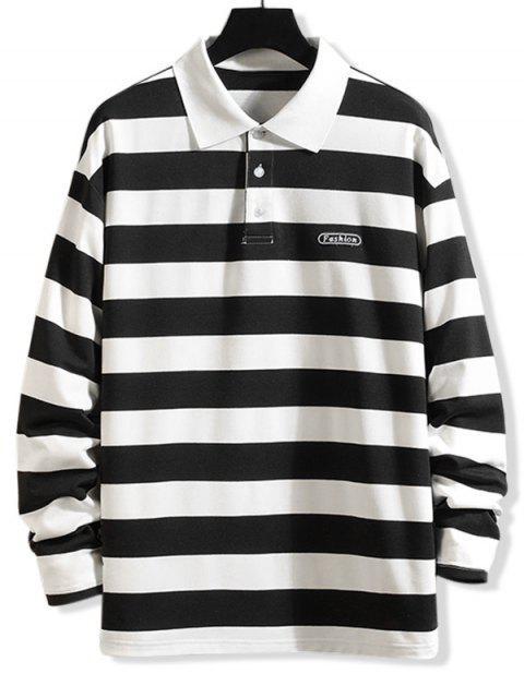 Gestreiftes Muster -Lange Ärmel- T-Shirt - Schwarz S Mobile