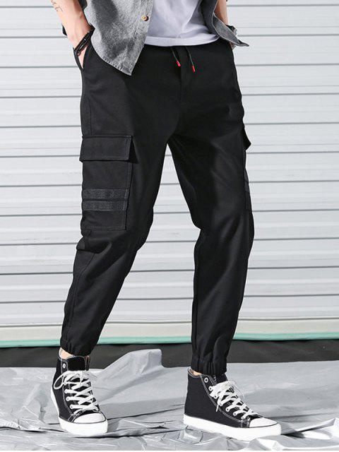 翼口袋條紋貼花抽繩短褲慢跑者 - 黑色 M Mobile