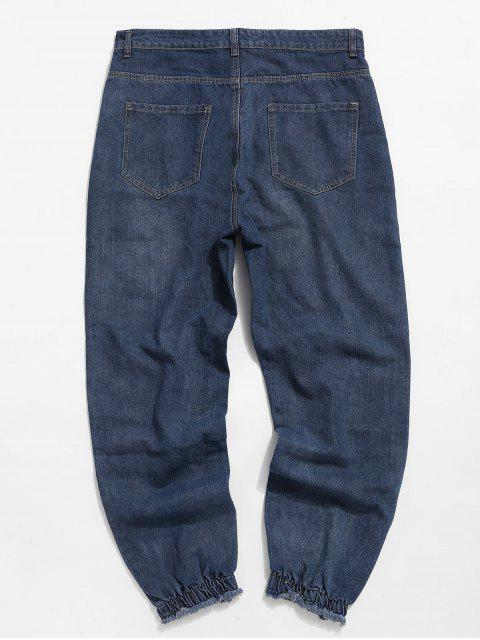 online Patchwork Ripped Jogger Jeans - BLUE 32 Mobile