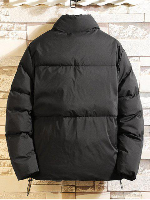 固體貼花切換抽繩河豚夾克 - 黑色 3XL Mobile