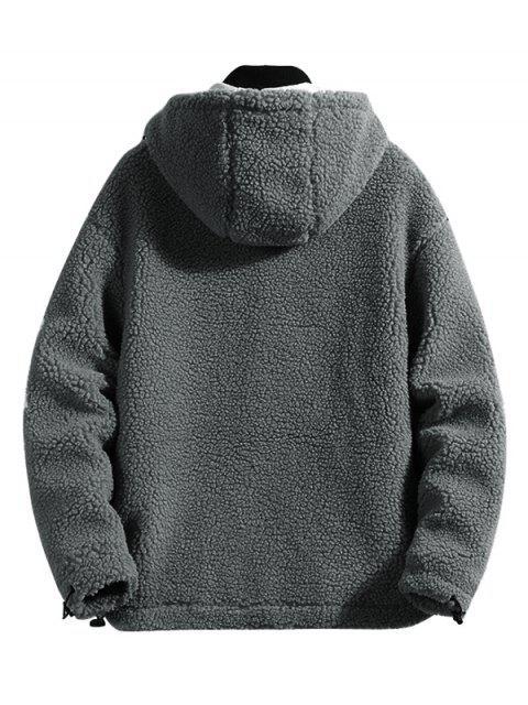 Colorblock信打印連帽人造毛皮外套蓬鬆 - 灰色 S Mobile