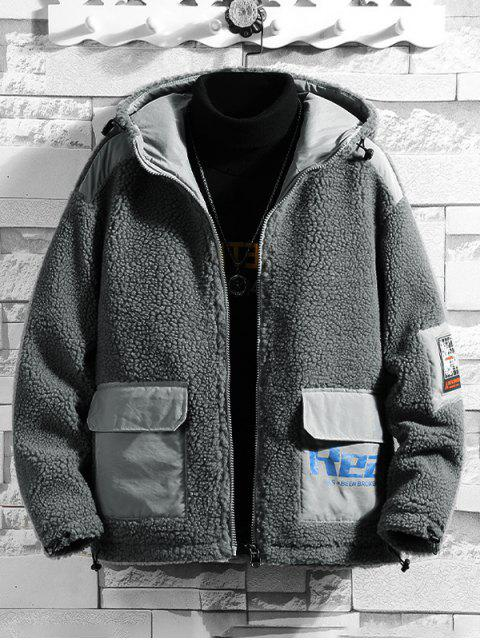 Colorblock信打印連帽人造毛皮外套蓬鬆 - 灰色 XS Mobile
