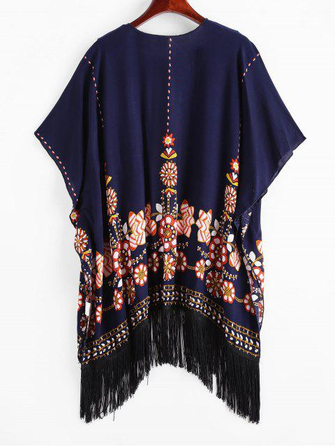 best ZAFUL Flower Print Open Fringed Tunic Cover Up - MIDNIGHT BLUE L Mobile