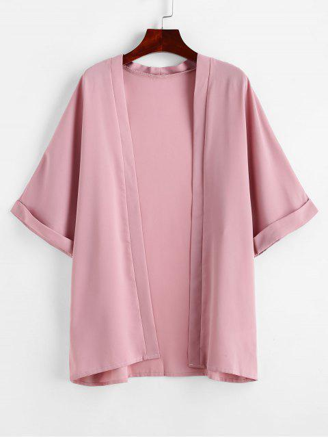 unique ZAFUL Cuff Sleeve Open Front Kimono Cover Up - LIGHT PINK L Mobile