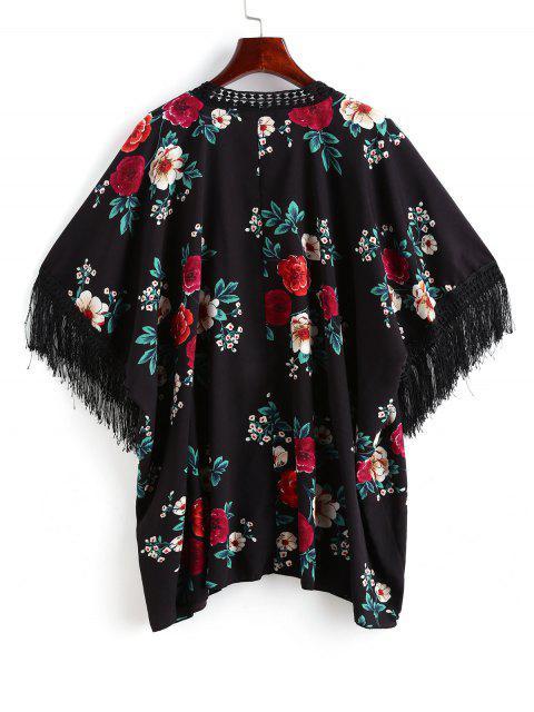 women's ZAFUL Flower Crochet Trim Open Fringed Cover Up - BLACK S Mobile