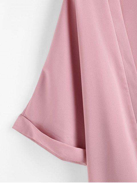 new ZAFUL Cuff Sleeve Open Front Kimono Cover Up - LIGHT PINK S Mobile