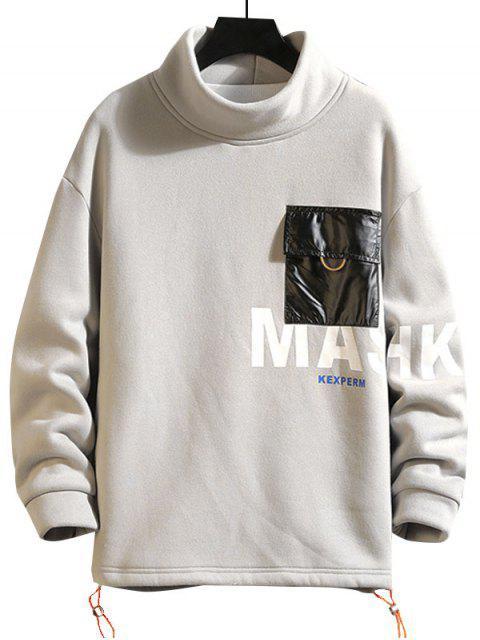 信打印色塊口袋衛衣 - 灰色 M Mobile
