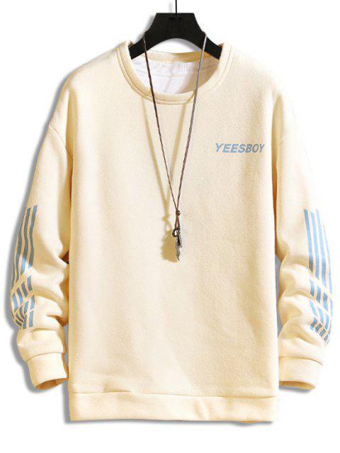 Sweatshirt aus Schafwolle mit Buchstabe und Streifenmuster - Beige M Mobile