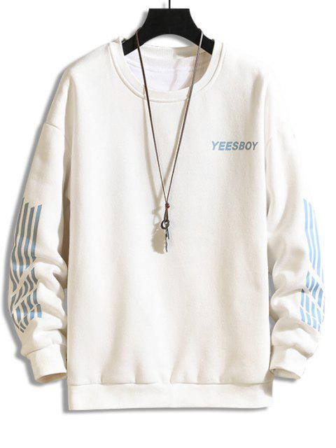 best Letter Striped Print Fleece Sweatshirt - WHITE M Mobile