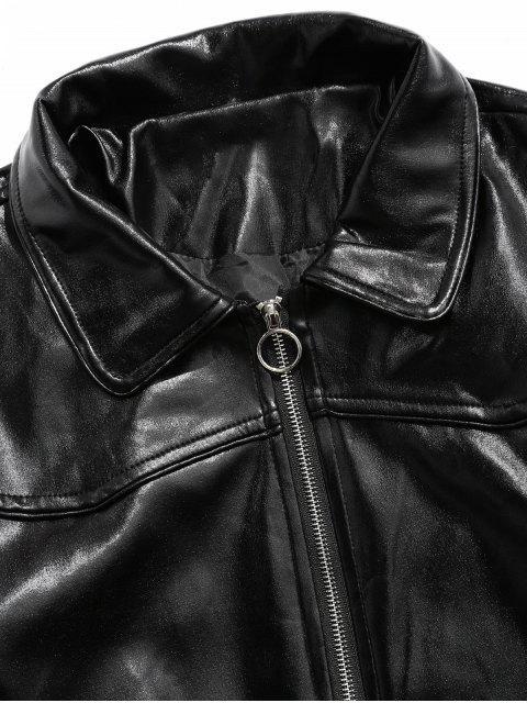 O型拉環仿皮拉鍊拉上夾克 - 黑色 M Mobile