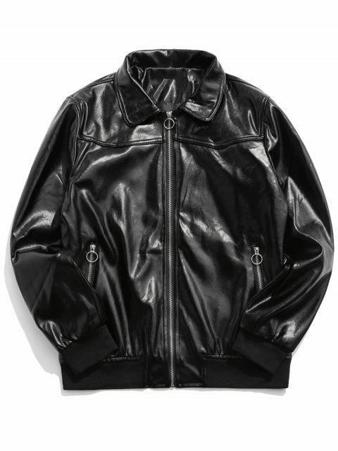 O型拉環仿皮拉鍊拉上夾克 - 黑色 XL Mobile