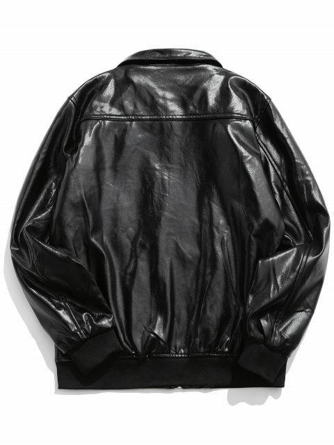 O型拉環仿皮拉鍊拉上夾克 - 黑色 2XL Mobile
