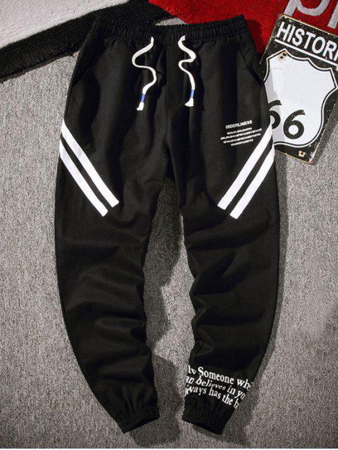 信圖形打印休閒褲 - 黑色 4XL Mobile