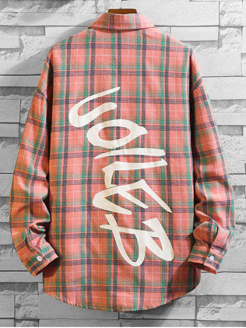 格紋打印口袋扣長袖襯衫 - 粉 4XL Mobile