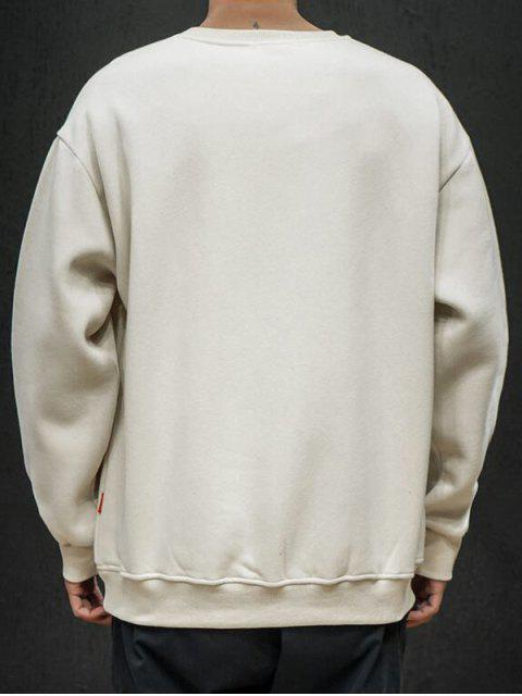 Einfarbiges Applikationen Rundhalsausschnitt Sweatshirt - Aprikose L Mobile