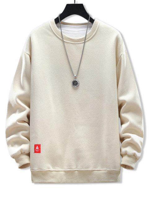 固體貼花圓領運動衫 - 杏 XL Mobile
