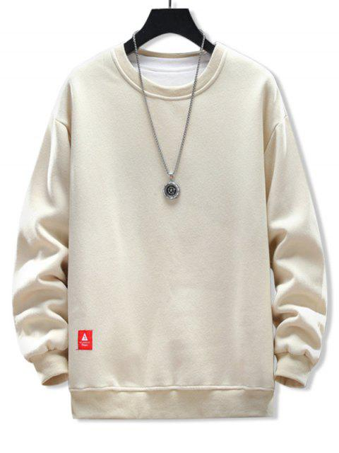 固體貼花圓領運動衫 - 杏 3XL Mobile