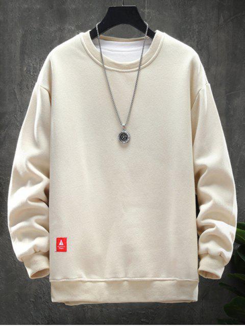 Solides Sweatshirt mit Rundhalsausschnitt und Applikation - Aprikose 3XL Mobile