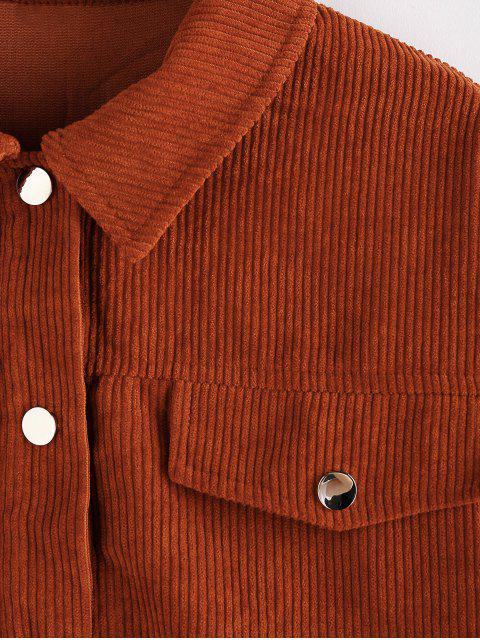 ZAFUL Jacke aus Kord mitHängenderSchulter - Sepia XL Mobile