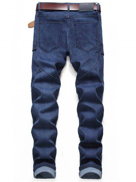 休閒口袋裝飾拉鍊拉開牛仔褲 - 牛仔布深藍色 42 Mobile